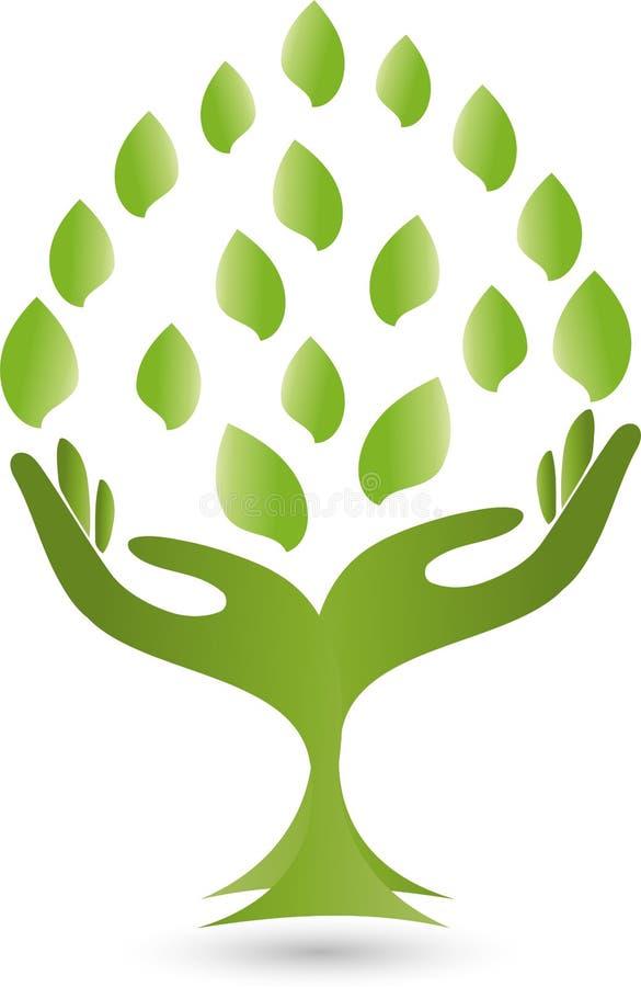 Embleem, handen, bladeren, Naturopaths royalty-vrije illustratie