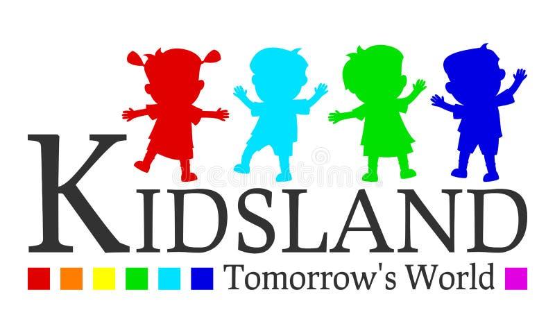 Embleem het Van morgen van de Wereld van Kidsland stock illustratie