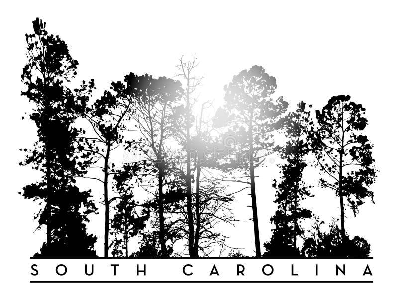 Embleem het Zuid- van Carolina met boomlijn vector illustratie