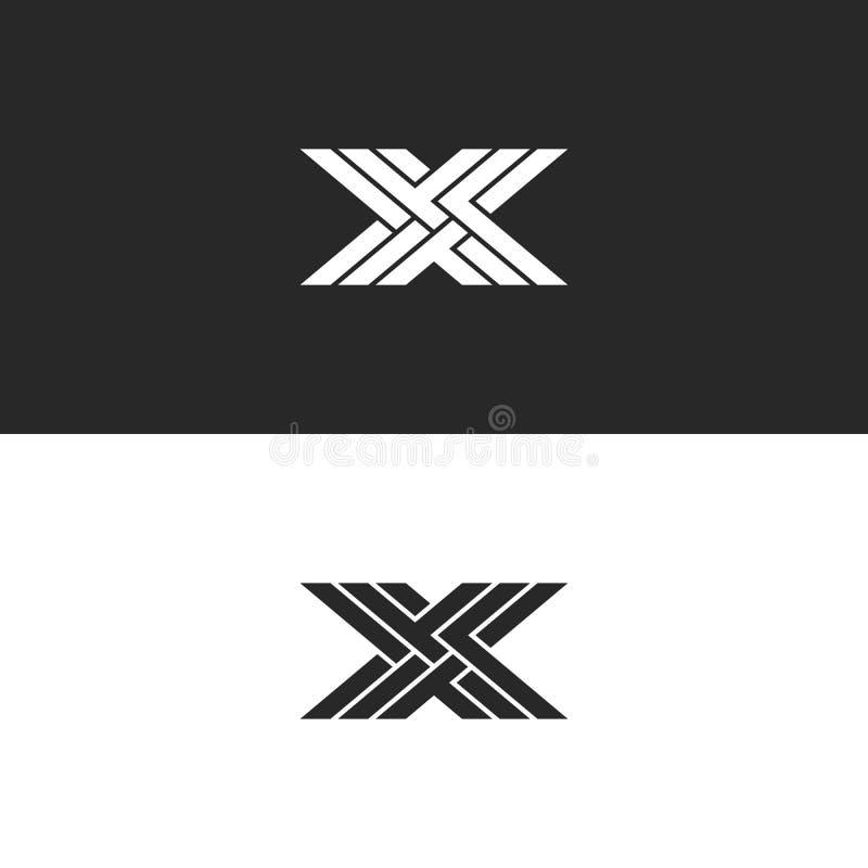 Embleem X hoofdlettermonogram, identiteits aanvankelijk lineair embleem voor adreskaartje, het zwart-witte overlappende lijnen we stock illustratie