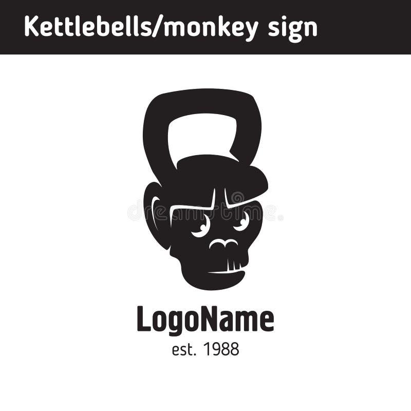 Embleem kettlebell van een aap` s gezicht royalty-vrije illustratie