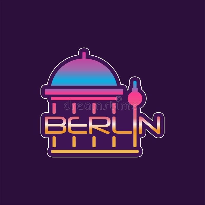 Embleem met de abstracte kathedraal van Berlijn in gradiëntkleur Vectortypografieontwerp van Europese hoofdstad beroemd royalty-vrije illustratie