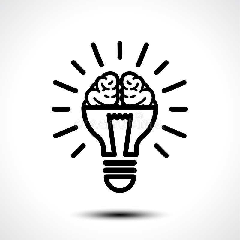 Embleem met de helft van gloeilamp en hersenen op witte achtergrond wordt geïsoleerd die Symbool van creativiteit, creatief idee, stock illustratie