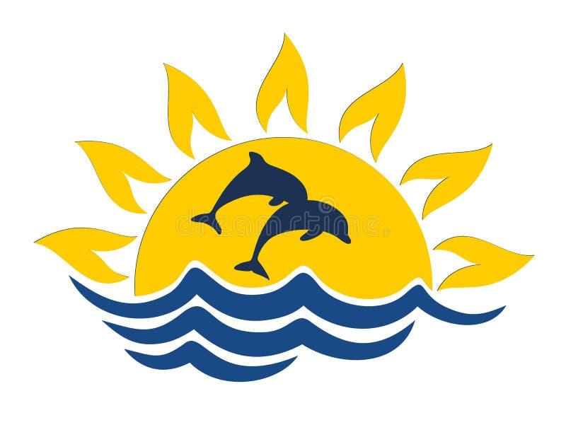 Embleem met dolfijnen stock illustratie