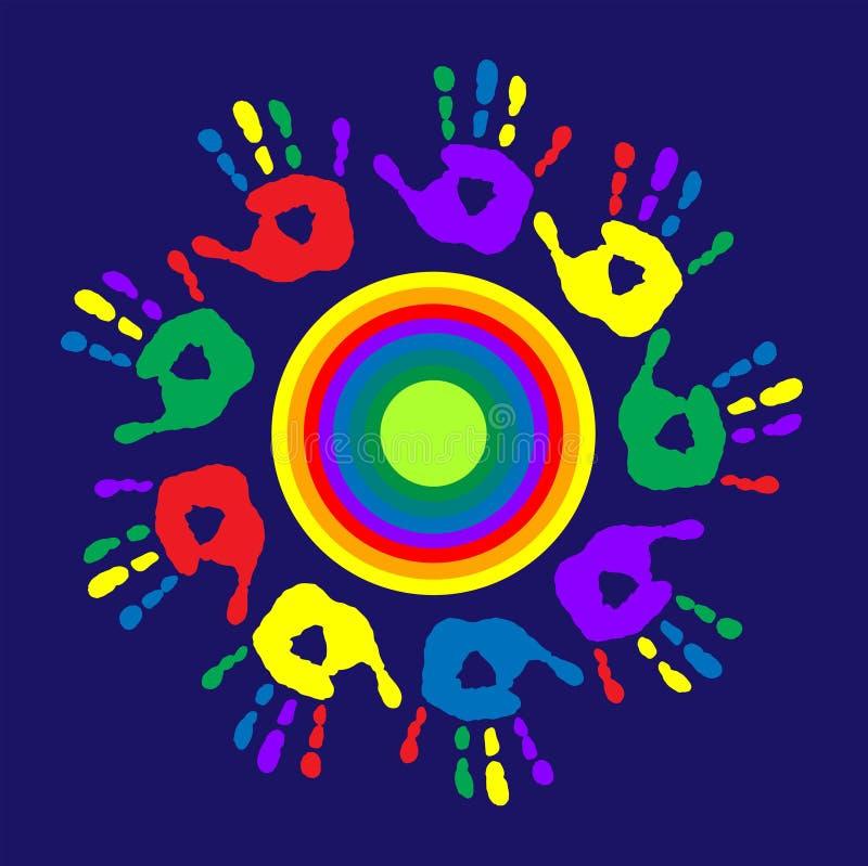 Embleem met een multi-colored cirkel en palmdrukken stock illustratie