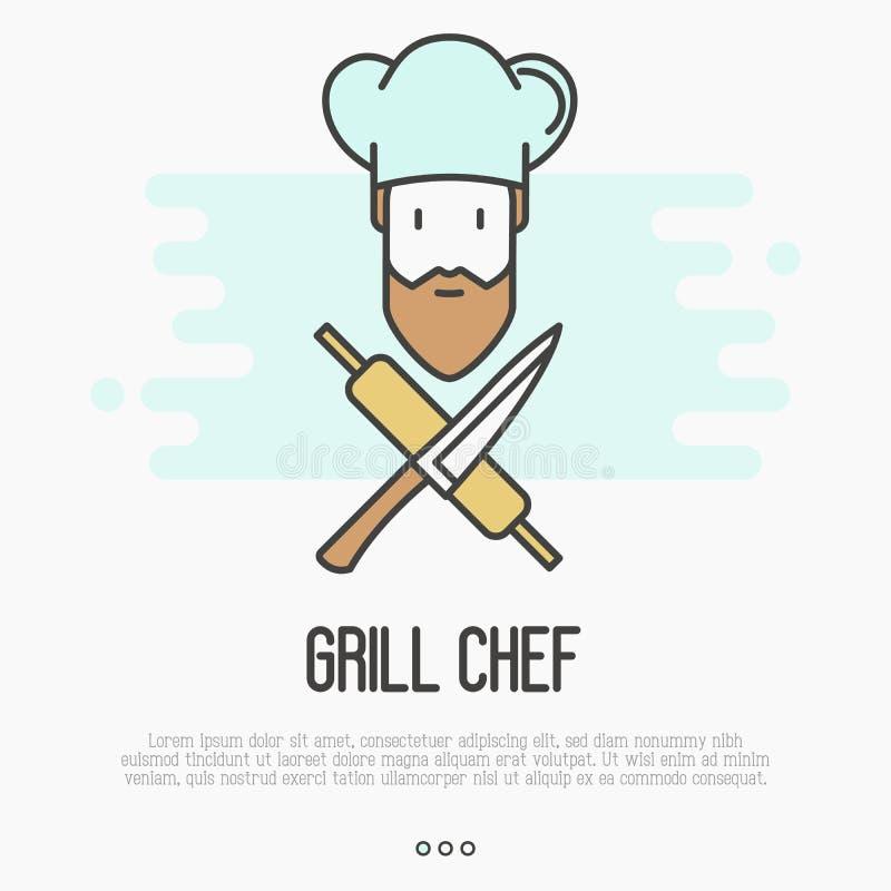Embleem met gebaarde chef-kok in hoed met mes royalty-vrije illustratie