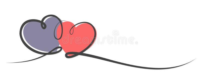 Embleem met harten stock illustratie