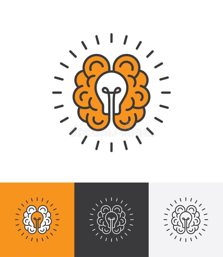 Embleem met hersenen en gloeilamp stock illustratie
