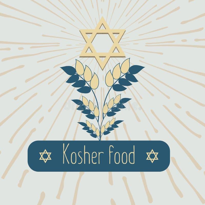 Embleem met korreloren voor het voedsel, korrelbedrijf Ontwerp van het etiket voor kosjer voedsel, een biologisch product De gest vector illustratie