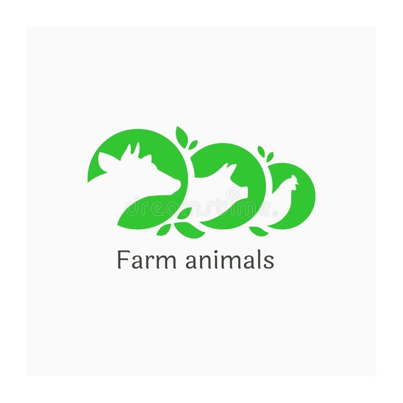 Embleem met landbouwbedrijfdieren Illustratie van koe, varken en kip Landbouwsymbool Pictogram voor landbouwbedrijf vector illustratie