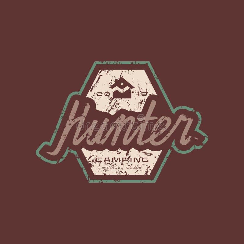 Embleem met ruwe textuur voor jagersclub stock illustratie
