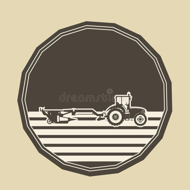 Embleem met tractor het ploegen stock foto's