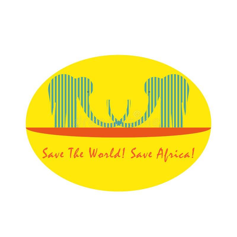 Embleem met Twee Gestreepte Olifanten voor Zon vector illustratie