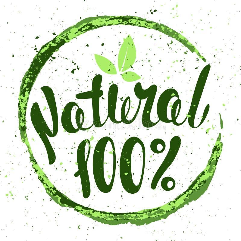 Embleem 100% Natuurlijk met bladeren Natuurvoedingkenteken in vector (cos. royalty-vrije stock afbeeldingen