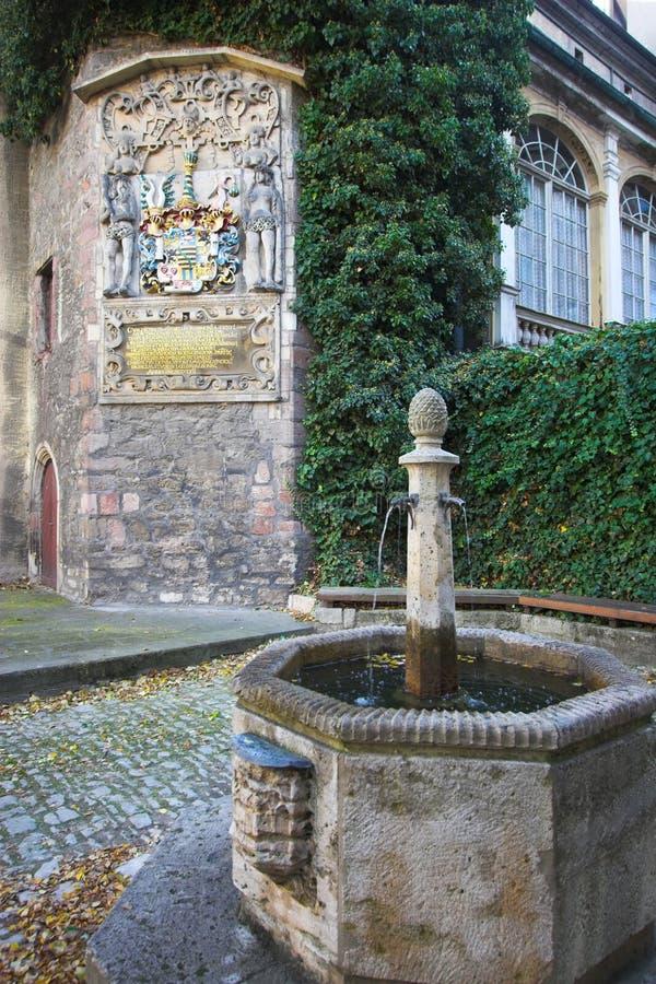 Embleem op de muur en de fontein stock foto