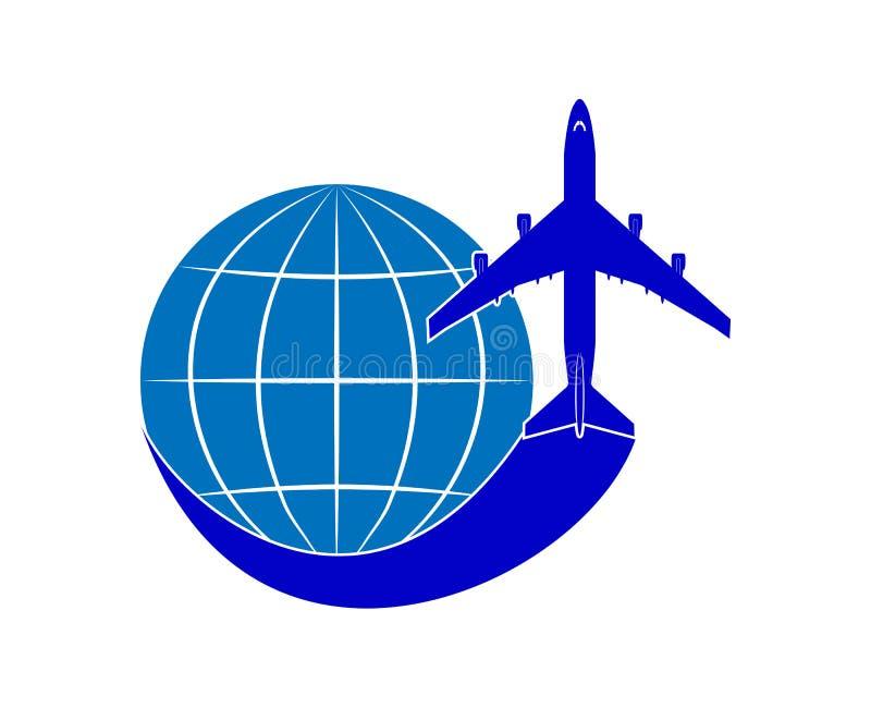 Embleem op het thema van luchtvaart en luchtreis Lijnvliegtuig en bol royalty-vrije illustratie