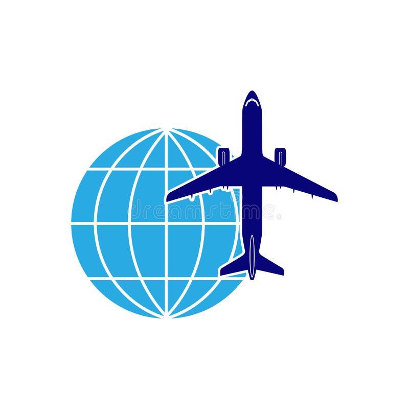 Embleem op het thema van luchtvaart Lijnvliegtuig op de achtergrond van stock illustratie
