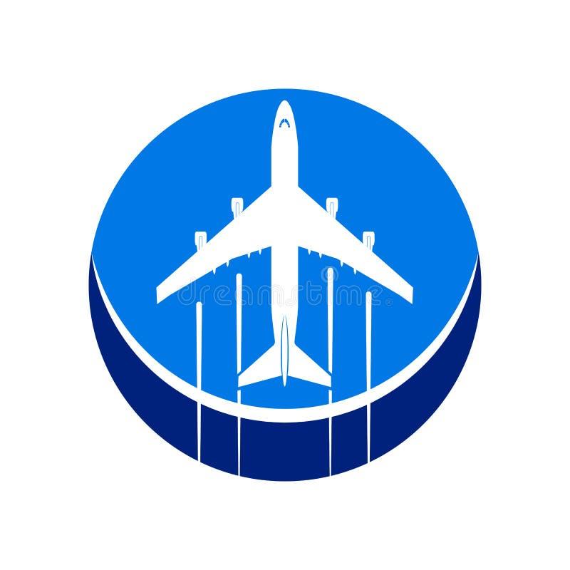 Embleem op het thema van luchtvaart Lijnvliegtuig op een cirkelachtergrond vector illustratie