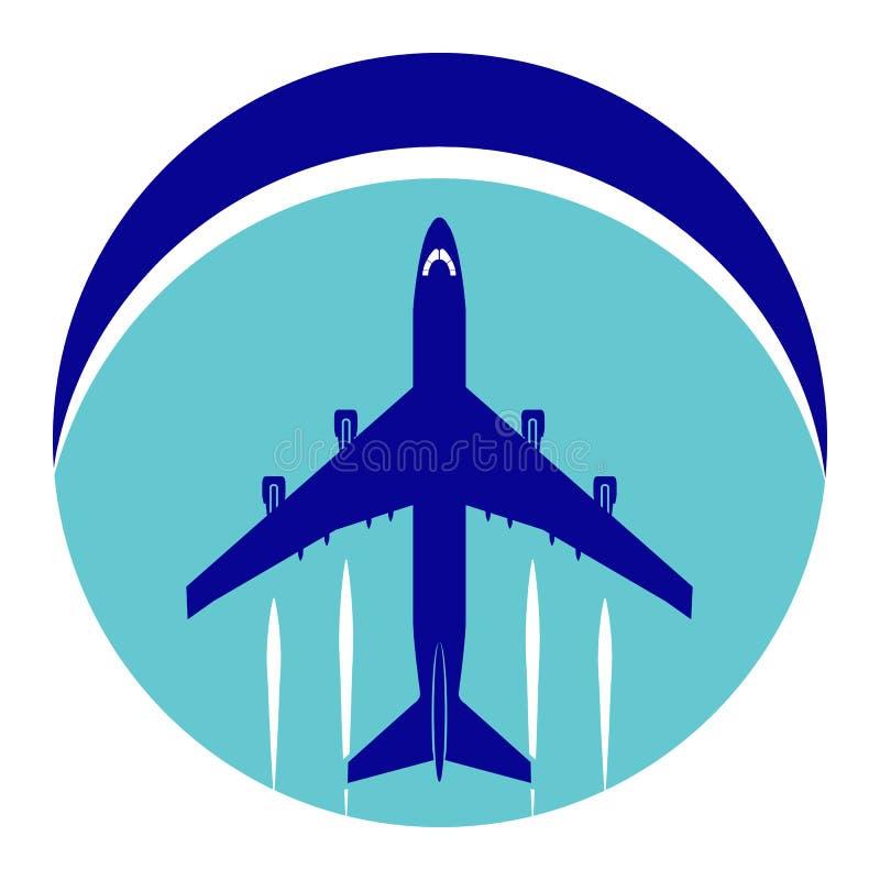 Embleem op het thema van luchtvaart Lijnvliegtuig op een cirkelachtergrond stock illustratie
