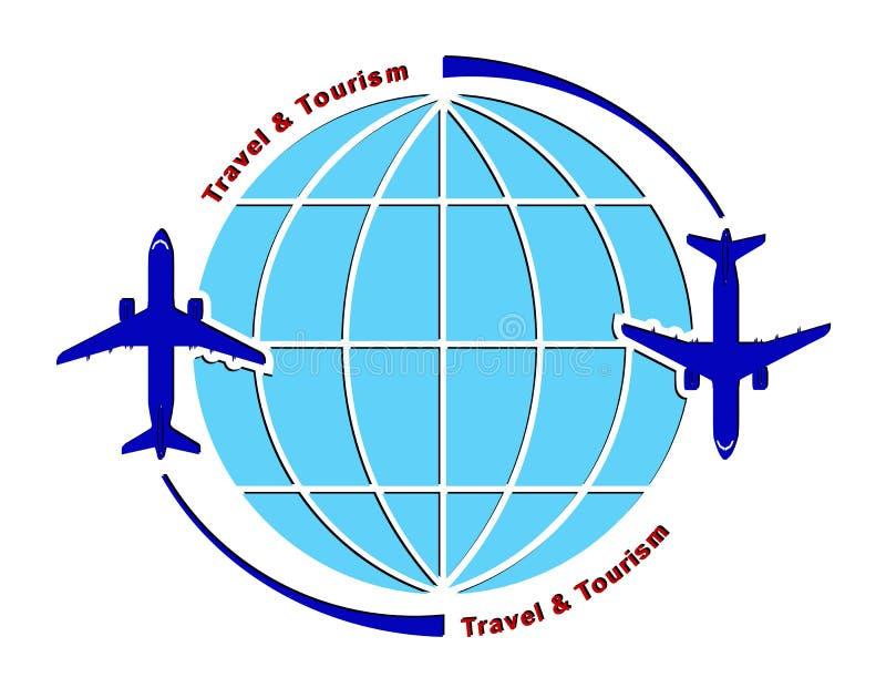 Embleem op het thema van luchtvaart, reis en toerisme Lijnvliegtuig en bol royalty-vrije illustratie