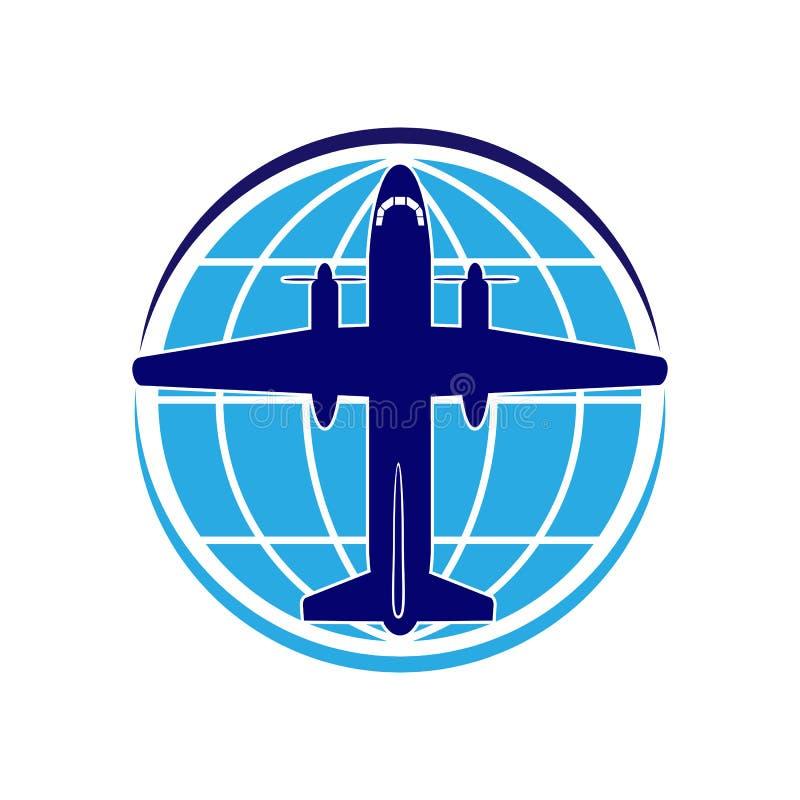 Embleem op het thema van luchtvaart, reis en toerisme Vliegtuig en bol vector illustratie