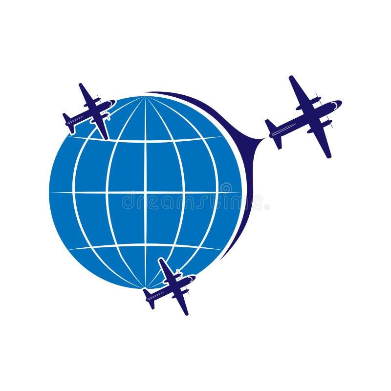 Embleem op het thema van luchtvaart, reis en toerisme Vliegtuigen en bol stock illustratie