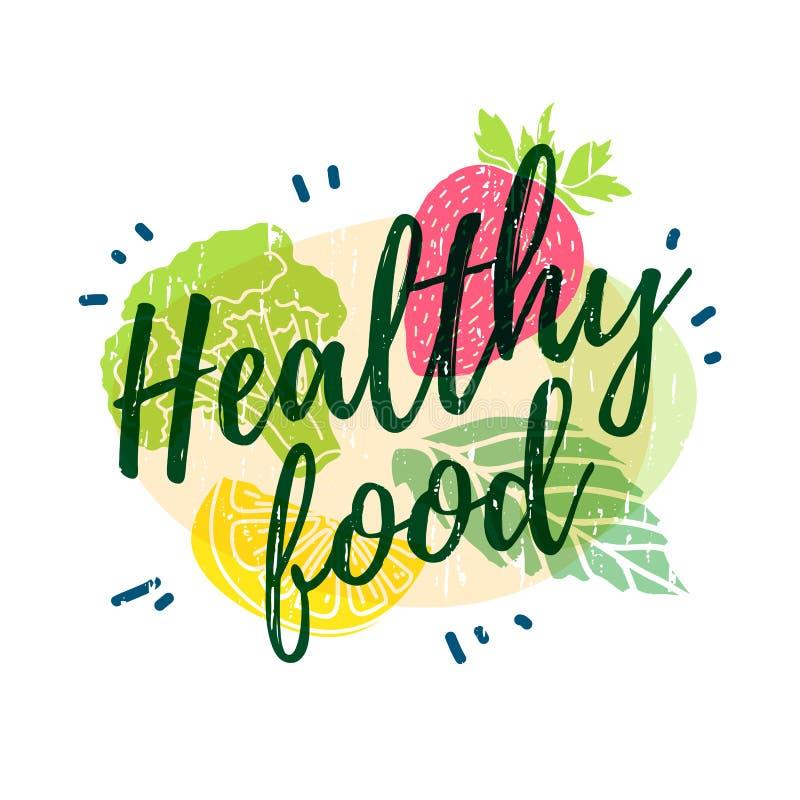 Embleem, pictogram, brochure van het affiche de Gezonde voedsel Het decor van de silhouetten van groenten, vruchten en kruiden Ze vector illustratie