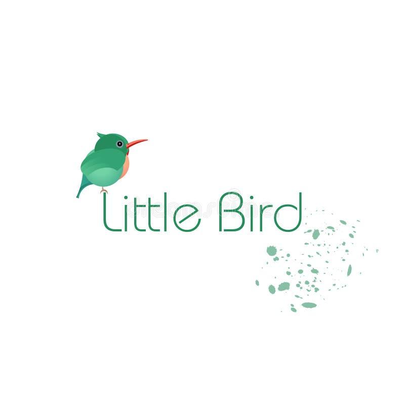 Embleem of pictogram Groene vogel, klein kuiken Ontwerpadreskaartjes, prentbriefkaaren Vector stock illustratie