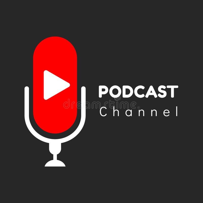 Embleem of pictogram podcast kanaal met zwarte achtergrond, vectorafbeeldingen royalty-vrije illustratie