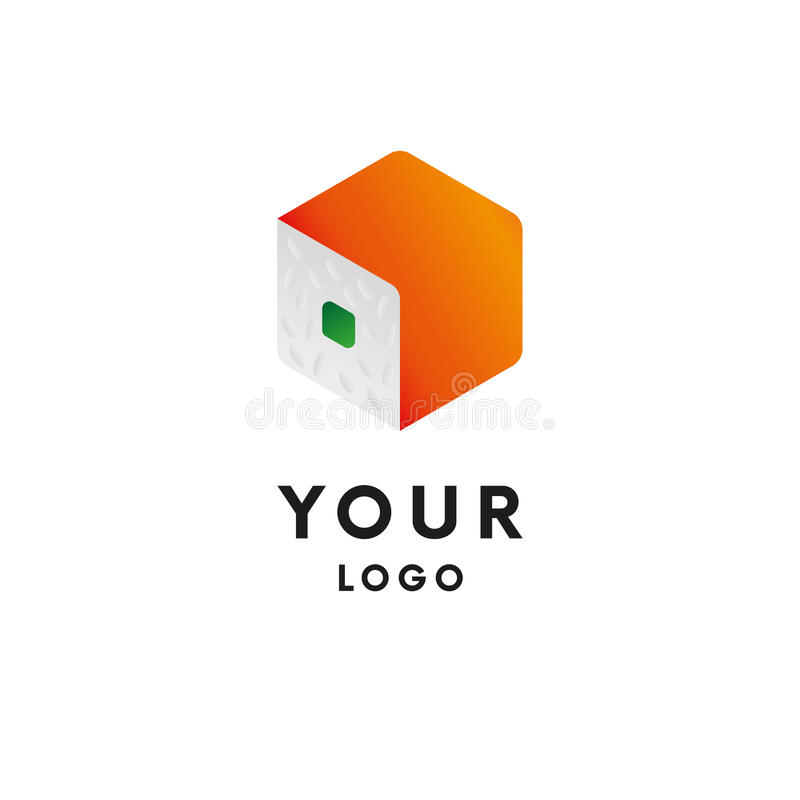 embleem Sushi logotype Aziatische Stijl Vector royalty-vrije illustratie
