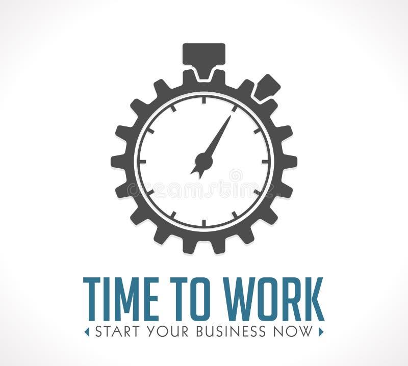 Embleem - tijd te werken stock illustratie