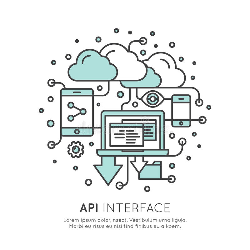 Embleem van API Application Programming Interface met Laptop, Potlood, Wolkengegevens royalty-vrije illustratie