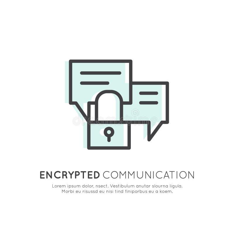 Embleem van Cuber-Veiligheid, Veilige Toegang, Gecodeerde Mededeling, Netwerkbescherming en Privacy royalty-vrije illustratie