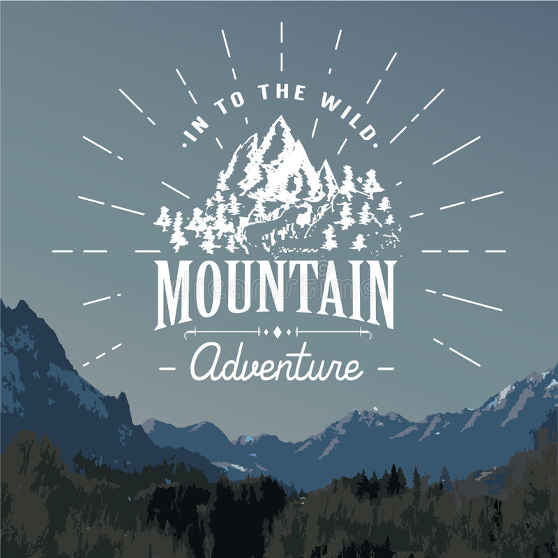 Embleem van de bergen handdrawn schets openlucht het kamperen en wandelingsactiviteit, Extreme sporten, openluchtavonturensymbool royalty-vrije illustratie