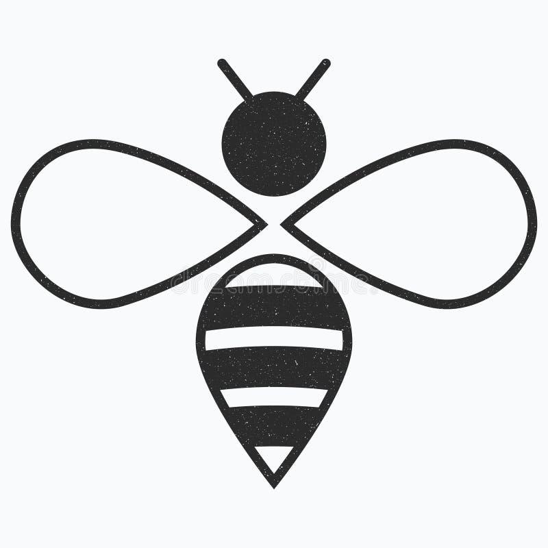 Embleem van de bij Zwart-wit bijenpictogram Vectorillustratie met korsten insect stock illustratie