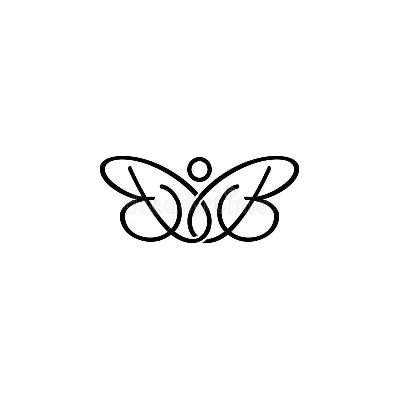 Embleem van de de brieven het aanvankelijke vlinder van BB stock illustratie