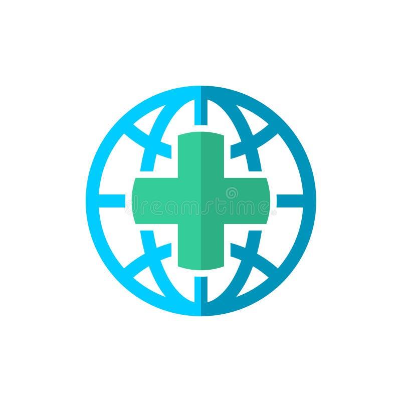 Embleem van de de reisverzekering van de wereldbol het medische vector illustratie