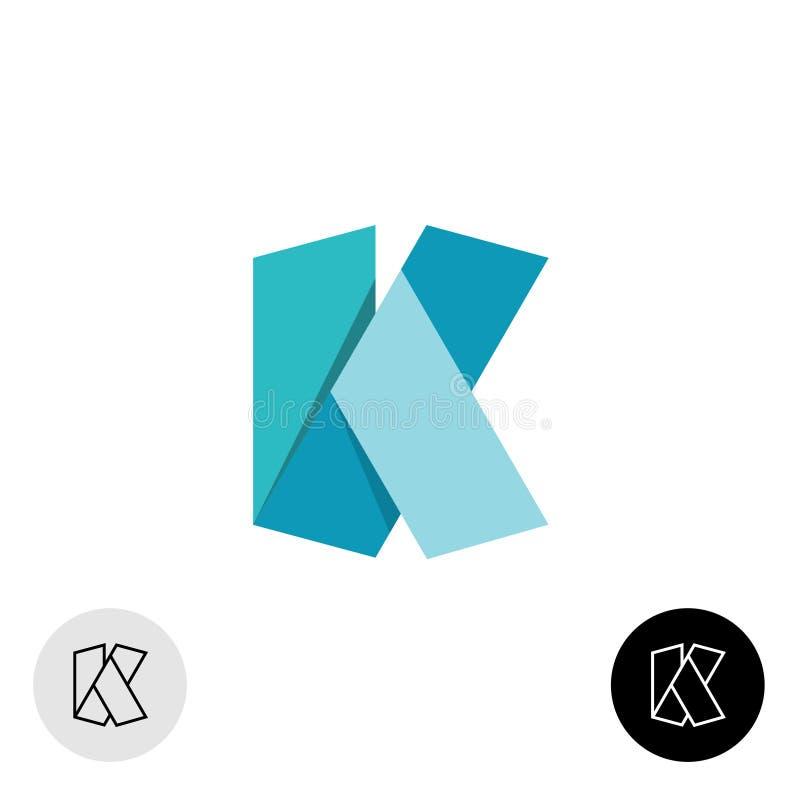 Embleem van de het lintstijl van de brievenk het vlakke origami brede 3D vector illustratie