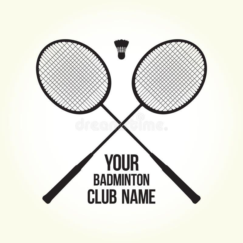 Embleem van de het silhouetclub van badmintonrackets het vector royalty-vrije stock afbeelding