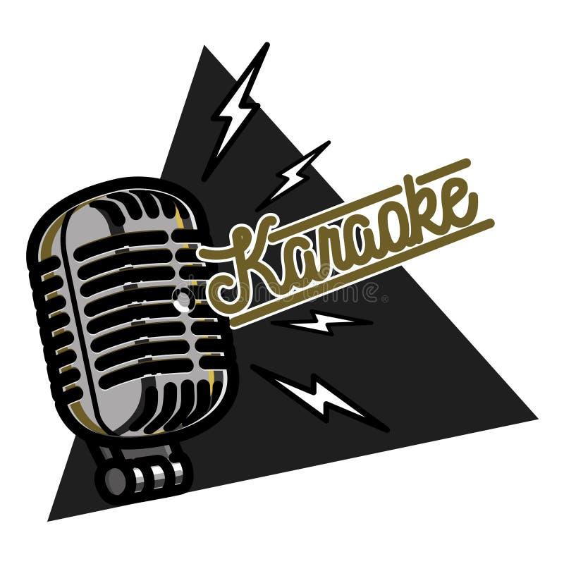 Embleem van de kleuren het uitstekende karaoke royalty-vrije illustratie