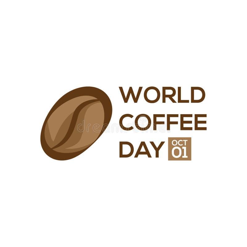 1 Embleem van de de koffiedag van Oktober het Internationale Van de daglogo icon van de wereldkoffie de vectorillustratie op witt vector illustratie