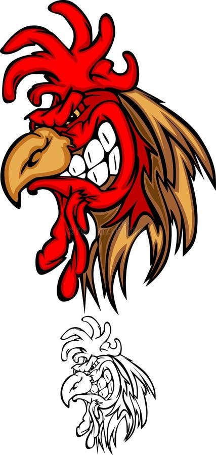 Embleem van de Mascotte van de haan het Hoofd royalty-vrije illustratie