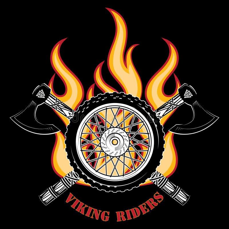 Embleem van de motorfietsclub, motorfietswiel, brand en de gekruiste assen van de Vikingen royalty-vrije illustratie