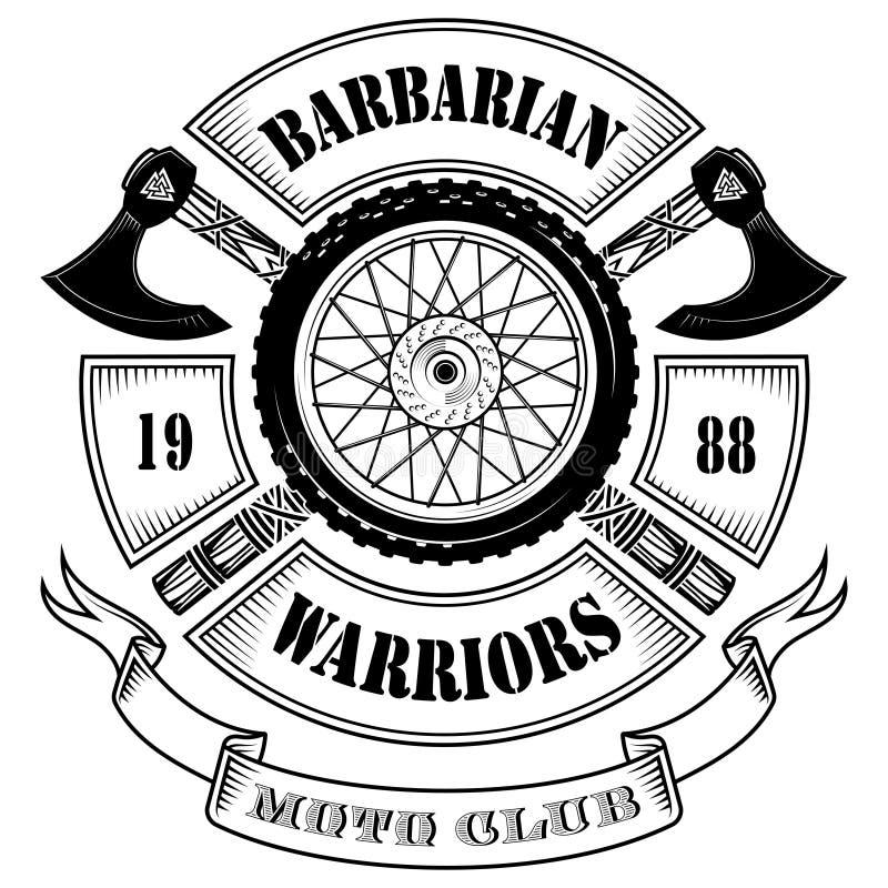 Embleem van de motorfietsclub, motorfietswiel en de gekruiste assen van de Vikingen stock illustratie