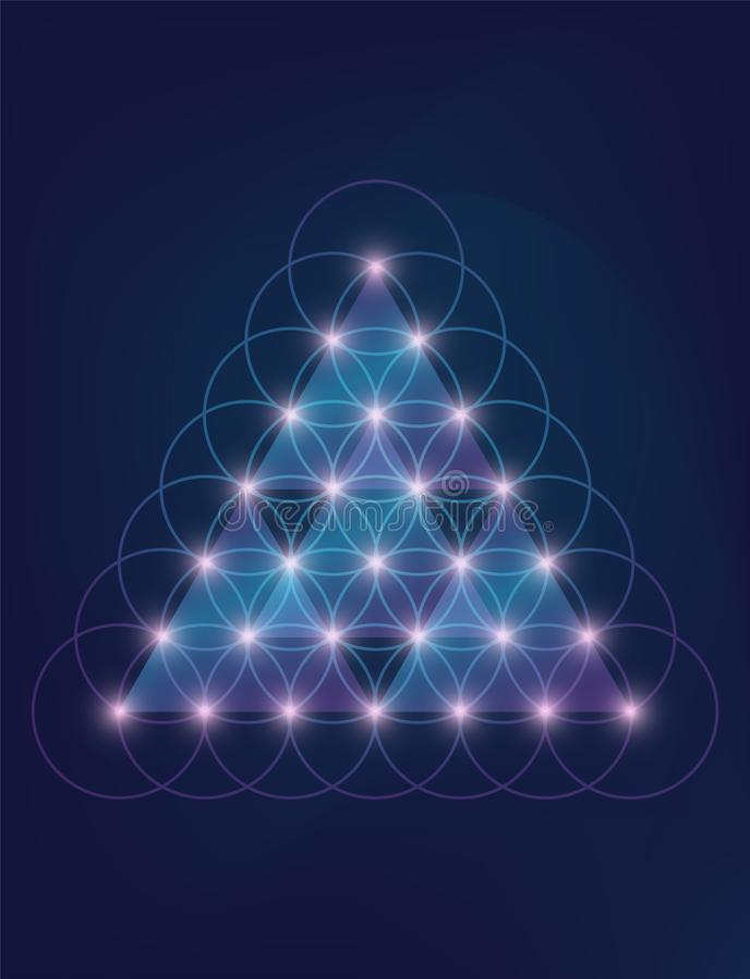 Embleem van de neon het heilige meetkunde, neon abstracte geometrische driehoekige vector op diepe blauwe achtergrond Nieuwe Leef vector illustratie