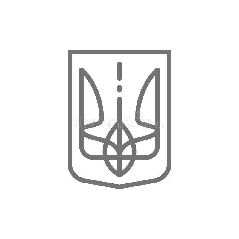 Embleem van de Oekraïne, Trident, het pictogram van de wapenschildlijn stock illustratie
