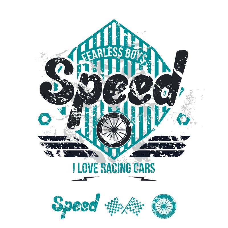 Embleem van de raceauto in retro stijl vector illustratie