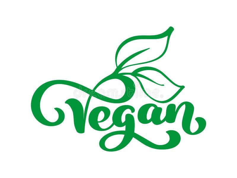 Embleem van de veganist het vectorillustratie, voedselontwerp Het met de hand geschreven van letters voorzien voor restaurant, ko vector illustratie