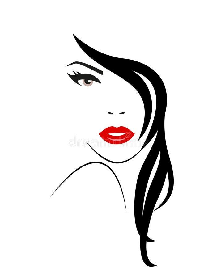 Embleem van de Vrouw met lang haar stock illustratie