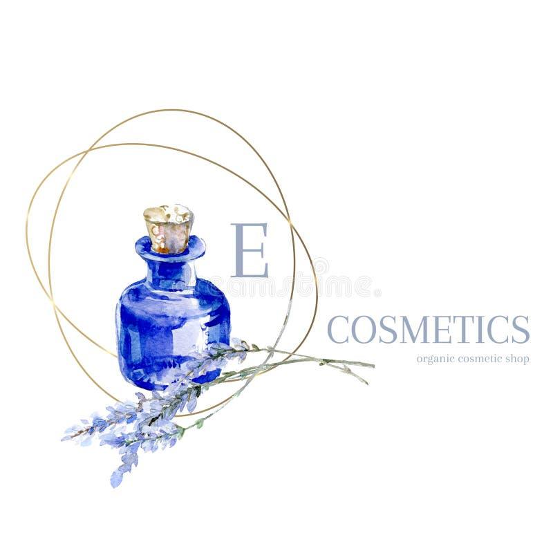 Embleem van de waterverf het hand getrokken lavendel Het blauwe flesje van de Provence met lavendel Natuurlijk retro productemble stock illustratie